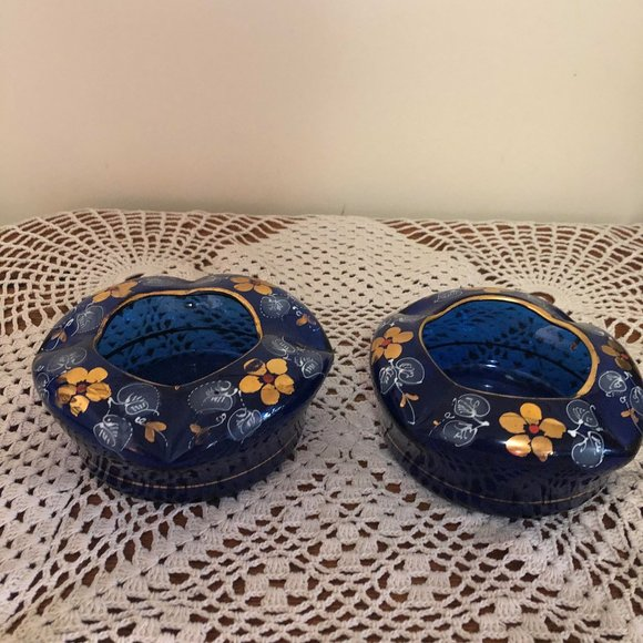 Set of 2 Vintage Hand Blown Glass Dishes / Ashtray